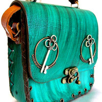 Luxry handmade genuine women's leather shoulder bag with ''Steampunk'' emblem