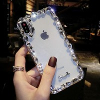 Personal creative iPhone8plus mobile phone shell luxury diamond - female iPhoneX full package transparent protection