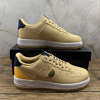 Morechoice Tuhy Nba X Air Force 1 07 Lv8 Sesame University Gold Sneakers Casual Skaet Shoes CT2298-200