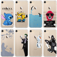 "Cute Minions Olaf For iphone 7 Case 4.7"" Soft TPU Transparent Silicone for Apple iPhone 7 Plus 7plus Case 5.5"" Phone Cover"