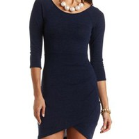 Ruched Bodycon Tulip Dress by Charlotte Russe - Navy