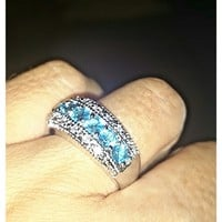 LOVE & MARRIAGE SPELLBOUND RING SIZE 7 BLUE TOPAZ 925 SILVER WITH 99 CHI BALLS