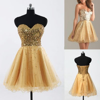 2016 Cheap New Cocktail Dresses Sexy Strapless Gold Mini Prom Dress A Line Short Sequins Homecoming Dresses Cocktail Dresses