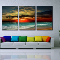 3 Panel Sunset beach Canvas Print Painting decorative painting  painting for living room decorative pictures
