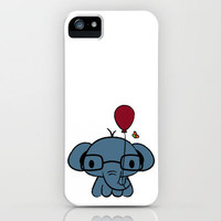 cute elephant with glasses holding a balloon iPhone Case by Jimmy Chanthavong | Society6