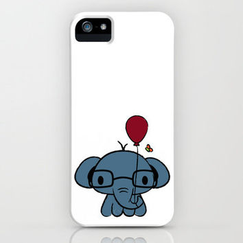 cute elephant with glasses holding a balloon iPhone Case by Jimmy Chanthavong   Society6