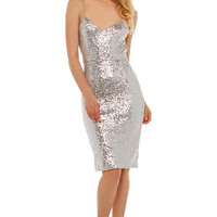 Rehab Shine On Backless Sequin Dress in Silver