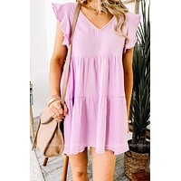 So Inclined Lilac Babydoll Dress
