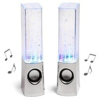 LED Water Dancing Show Music Fountain Light Mini Computer Speakers Pink