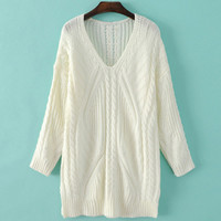 V Neckline Long Sleeve Cable Knit Sweater