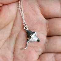 Sterling Silver Bat Ray Necklace / Stingray Necklace