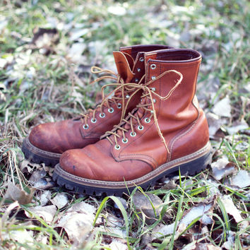 Vintage Leather Red Wing Work Boots - Men's 8.5