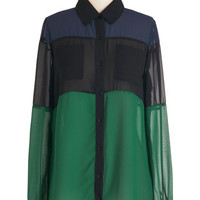 ModCloth Colorblocking Mid-length Long Sleeve Pop and Colorblock Top