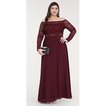 Plus Size Long Sleeved Lace Bodice A-Line Long Formal Dress Burgundy