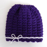 Knit Baby Hat, 3-6 Month Baby Girl Hat, Purple Knit Hat