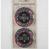 Natural Life Car Coaster Set - Be Thankful