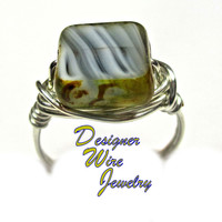DWJ0305 Stunning Czech Glass 50 Shades of Gray Silver Wire Wrapped Ring All Sizes