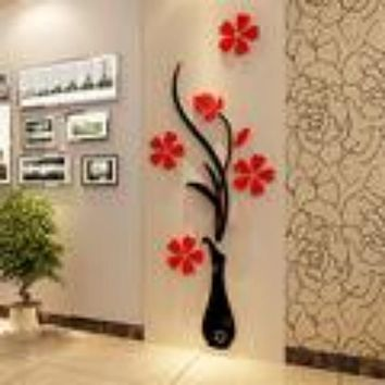 3D Acrylic Creative Flower Pattern Wall Stickers for Living Room