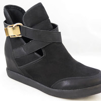 Women's Girls Black Gold Wedge Boots Sneakers High Top Gold Buckle