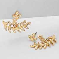 Olive Leaf Double Sided Earrings Gold