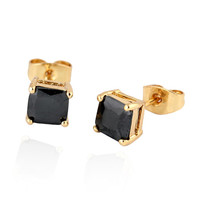 Square Zircon Earings Couples Design  gold plated black zircon