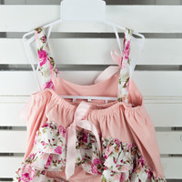 #10 Baby Ruffle Swing Set Sun Suit Peach Floral