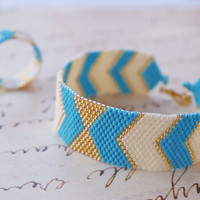 Peyote Bracelet and band ring, Peyote Chevron Geometric, Handwoven Jewelry, Modern, Urban Style - Arrows Bow