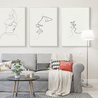 Picasso Simple Line Curve Black White Abstract Painting Kiss A4 Art Print Poster Canvas Painting Mural Living Room Home Decorati