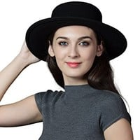 SIGGI Womens 100% Wool Felt Fedora Hat Wide Brim Classic Pork Pie Hat Colors