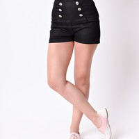 Retro Style Black High Waisted Stretch Sailor Shorts