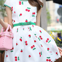 White Cherry Embroidered Cap Sleeve Skater Dress