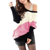 Leisure Sexy Off Shoulder Long Sleeve Autumn Sweater for Women Pink XS