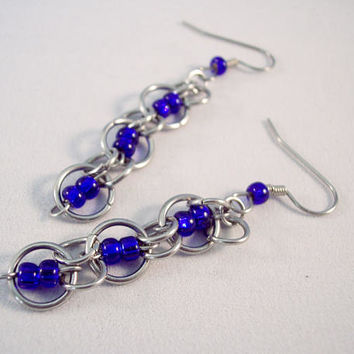 Birthstone Inspired Chain Mail Earrings September  Earrings Birthday Earrings Stainless Steel Earrings Blue Earrings