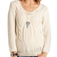Cable Knit Pullover Tunic Sweater