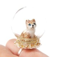 Adorable Porcelain Striped Kitty Cat Glass Snow Globe Bubble Adjustable Ring | Animal Jewelry