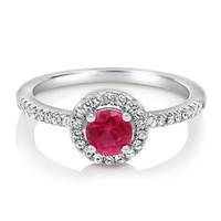 Round Ruby Cubic Zirconia CZ 925 Sterling Silver Halo Ring 0.63 ctw #r570
