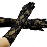 Black Rose Sexy Lace Gothic Long Gloves