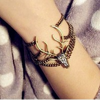 Retro full of mysterious deer head exaggerated shape bracelet