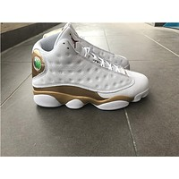 Air Jordan Retro 13 Defining Moments Gold White They can't Win Until We Quit basketball shoes
