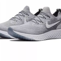 MEN'S NIKE EPIC REACT FLYKNIT RUNNING SHOES GREY SIZE 10.5 LONG DISTANCE TRAINER