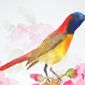 Fire-tailed Sunbird - 6x9 Original Watercolor Painting - nature art, colorful, bird
