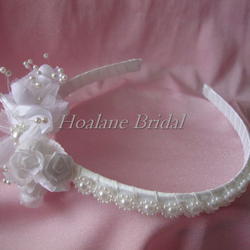 Flower girl headband, pearl/silk flower headband
