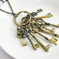 Key of Life - Antique Bronze Long Chain Necklace