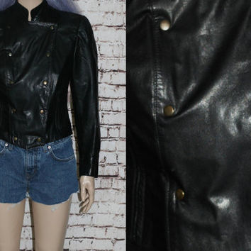 Leather Jacket Black Motorcycle Moto Slim Fit Nu Grunge Punk Goth Hipster Festival Pastel boho Gothic XS S Small 90s 80s  Croppped Womens