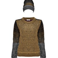 Women's Petite Colorblocked Chunky Textured Yarn Pullover Jumper with Matching Hat Set