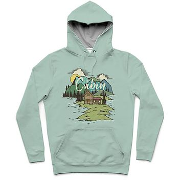 The Cabin Trendy All-Over Print Solid Opal Hoodie