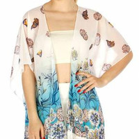 Flower Butterfly Long Fringe Kimono One Size Fits Reg and Plus Sizes in 2 Colors