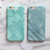 Mint Marble Stone Case for iPhone 7 7Plus & iPhone se 5s 6 6 Plus Top Quality Cover with Gift Box