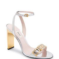 Leather Sandals In Silver