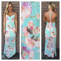 Mint Floral Wailea Maxi Dress